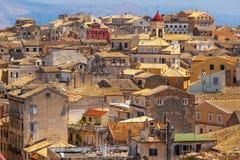 Visión desde el castillo a la Corfú-ciudad Fotografía de archivo