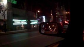 Visión desde el coche durante la noche almacen de video