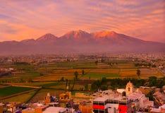 Visión desde el distrito de Sachaca, Arequipa Perú Fotografía de archivo libre de regalías