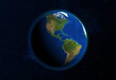 Visión desde el espacio en el norte y Suramérica Imagen de archivo libre de regalías