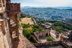 Visión desde el fuerte de Mehrangarh, Jodhpur, Rajasthán, la India fotografía de archivo