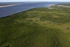 Visión desde el helicóptero en el río Imagenes de archivo