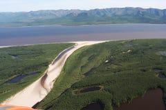Visión desde el helicóptero en el río Foto de archivo libre de regalías