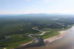 Visión desde el helicóptero en el río Fotos de archivo