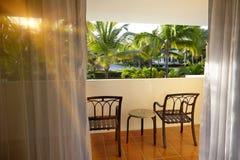 Visión desde el hotel del balcón en la República Dominicana Imagenes de archivo
