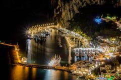 Visión desde el hotel San Micaela en Anacapri en la oscuridad, Capri, Italia foto de archivo libre de regalías