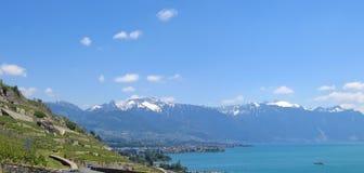 Visión desde el lago Leman, Suiza, panorama Imagen de archivo libre de regalías