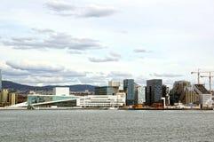 Visión desde el mar a Oslo y al fiordo de Oslo noruega Fotografía de archivo libre de regalías