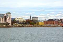 Visión desde el mar a Oslo y al fiordo de Oslo noruega Imagenes de archivo
