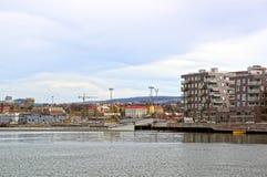 Visión desde el mar a Oslo y al fiordo de Oslo noruega Foto de archivo