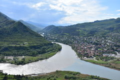 Visión desde el monasterio de Jvari, Mtskheta, Georgia Imágenes de archivo libres de regalías