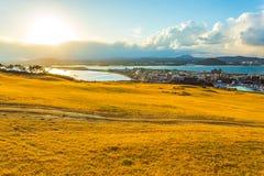 Visión desde el moutain de Seongsan Ilchulbong en la isla de Jeju, Kore del sur Imagen de archivo