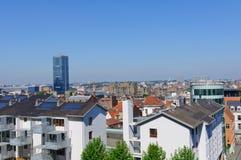 Visión desde el Palais de Justice en Bruselas, Bélgica Foto de archivo
