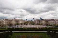 Visión desde el parlamento, Bucarest Fotos de archivo libres de regalías
