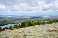 Visión desde el parque nacional del Acadia de la montaña de Cadillac en otoño Fotografía de archivo libre de regalías