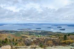 Visión desde el parque nacional del Acadia de la montaña de Cadillac en otoño Fotos de archivo libres de regalías