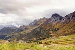 Visión desde el paso de Pordoi, pareciendo del este, Italia, Europa Fotografía de archivo libre de regalías