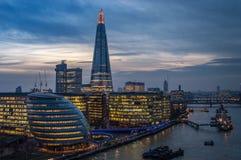 Visión desde el puente de la torre, Londres Imágenes de archivo libres de regalías