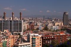Visión desde el teleférico de Montjuic, Barcelona foto de archivo libre de regalías