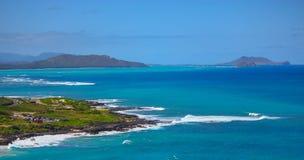 Visión desde el ` u Oahu, Hawaii de Makapu fotos de archivo