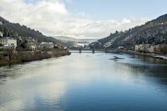 Visión desde el viejo cke del ¼ de Alte Brà del puente en Heidelberg, Alemania Fotos de archivo