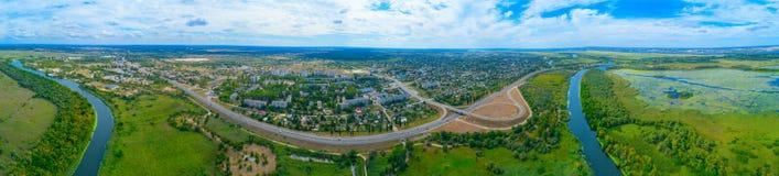 Visión desde la altura de la ciudad de Alyoshki Región de Kherson Foto de archivo