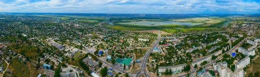 Visión desde la altura de la ciudad de Alyoshki Región de Kherson Fotografía de archivo libre de regalías