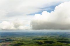 Visión desde la cabina del aeroplano Fotografía de archivo libre de regalías