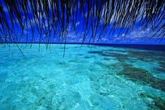 Visión desde la etapa de aterrizaje Maldivas Imagen de archivo libre de regalías