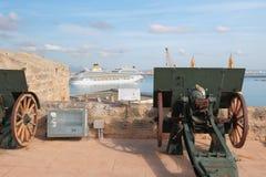 Visión desde la fortaleza San Carlos en puerto Palma de Majorca, España Imagen de archivo