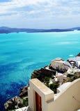 Visión desde la isla Grecia del cielo de Thera Santorini Oia Fotografía de archivo libre de regalías