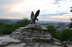 Visión desde la montaña al pueblo Mashuk Fotos de archivo