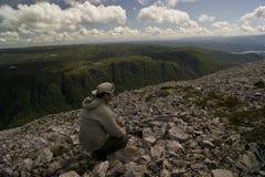 Visión desde la montaña de Gros Morne Imágenes de archivo libres de regalías