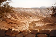 Visión desde la montaña en desierto del Néguev Fotografía de archivo libre de regalías