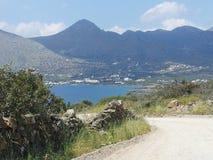 Visión desde la península Creta de Elounda fotografía de archivo