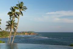 Visión desde la piscina del borde del infinito al océano y a las palmas Foto de archivo
