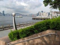 Visión desde la 'promenade' central, isla principal, Hong Kong imagen de archivo