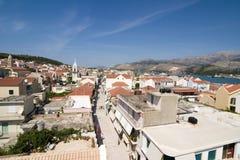 Visión desde la torre de Bell, centro de ciudad de Argostoli, Kefalonia, sept. imagen de archivo