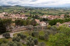 Visión desde la torre de la fortaleza de San Giminiano Foto de archivo libre de regalías