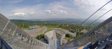 Visión desde la torre de los saltos de esquí Foto de archivo libre de regalías