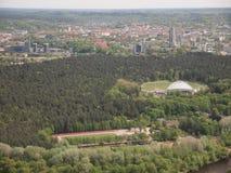 Visión desde la torre de Vilna TV (Lituania) Imagen de archivo libre de regalías