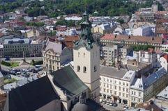 Visión desde la torre del ayuntamiento en Lviv en Ucrania Fotografía de archivo libre de regalías