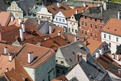 Visión desde la torre en Cesky Krumlov Imágenes de archivo libres de regalías