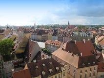 Visión desde la torre en las casas de la ciudad y el tejado de Cheb imagen de archivo libre de regalías