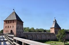 Visión desde la una de las torres del Kremlin en Veliky Novgorod Imagen de archivo