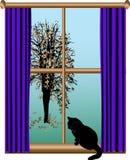 Visión desde la ventana stock de ilustración