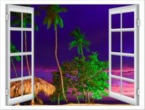 Visión desde la ventana abierta de la puesta del sol del Caribe foto de archivo libre de regalías