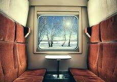 Visión desde la ventana del tren en paisaje del invierno Fotografía de archivo libre de regalías