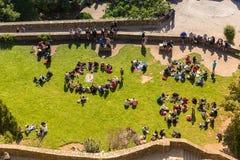 Visión desde las paredes de Mont Saint Michel, Francia Fotos de archivo libres de regalías