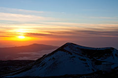 Visión desde Mauna Kea en la puesta del sol Foto de archivo libre de regalías